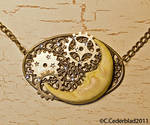 Steampunk moon necklace
