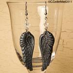 Black wings earrings