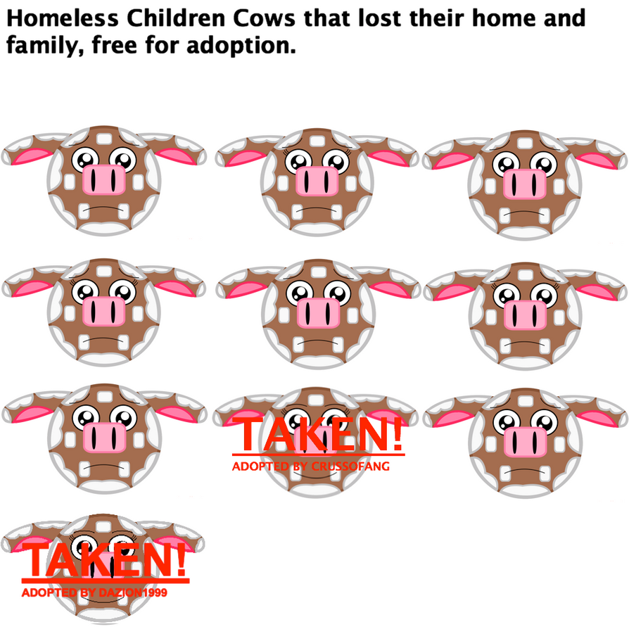 Ten Homeless Cows without a family, please adopt by Mario1998