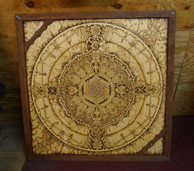 Galactic Time Clock (Pyrography on 4' x 4' Birch)