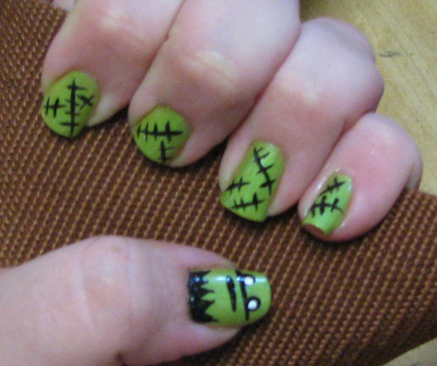 Frankenstein Monster Nail Design Part 1 By Kookylmhnails On Deviantart