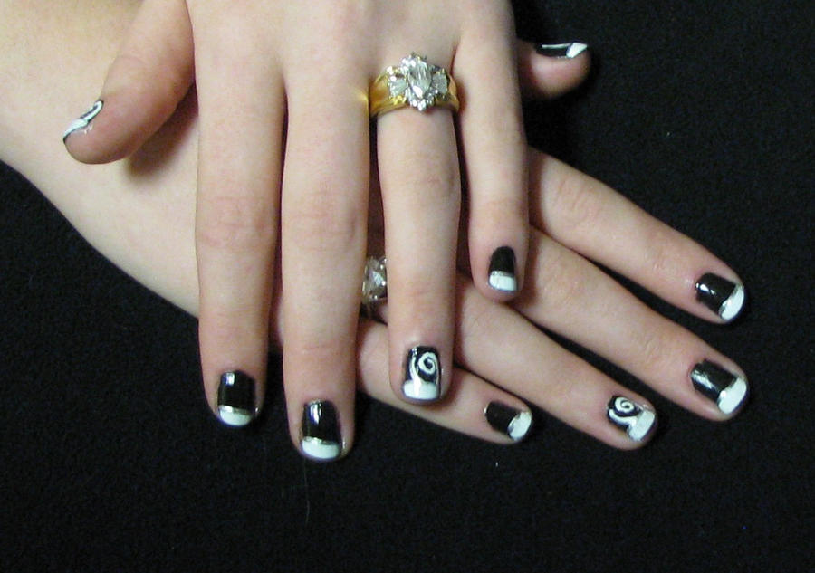 Contemporary Nails Black And White Tips Illustration - Nail Art ...
