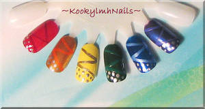 Close-up of Rainbow Design Nails by KookylmhNails