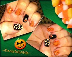 Pumpkin and Candy Corn Nails - Halloween 2012 by KookylmhNails