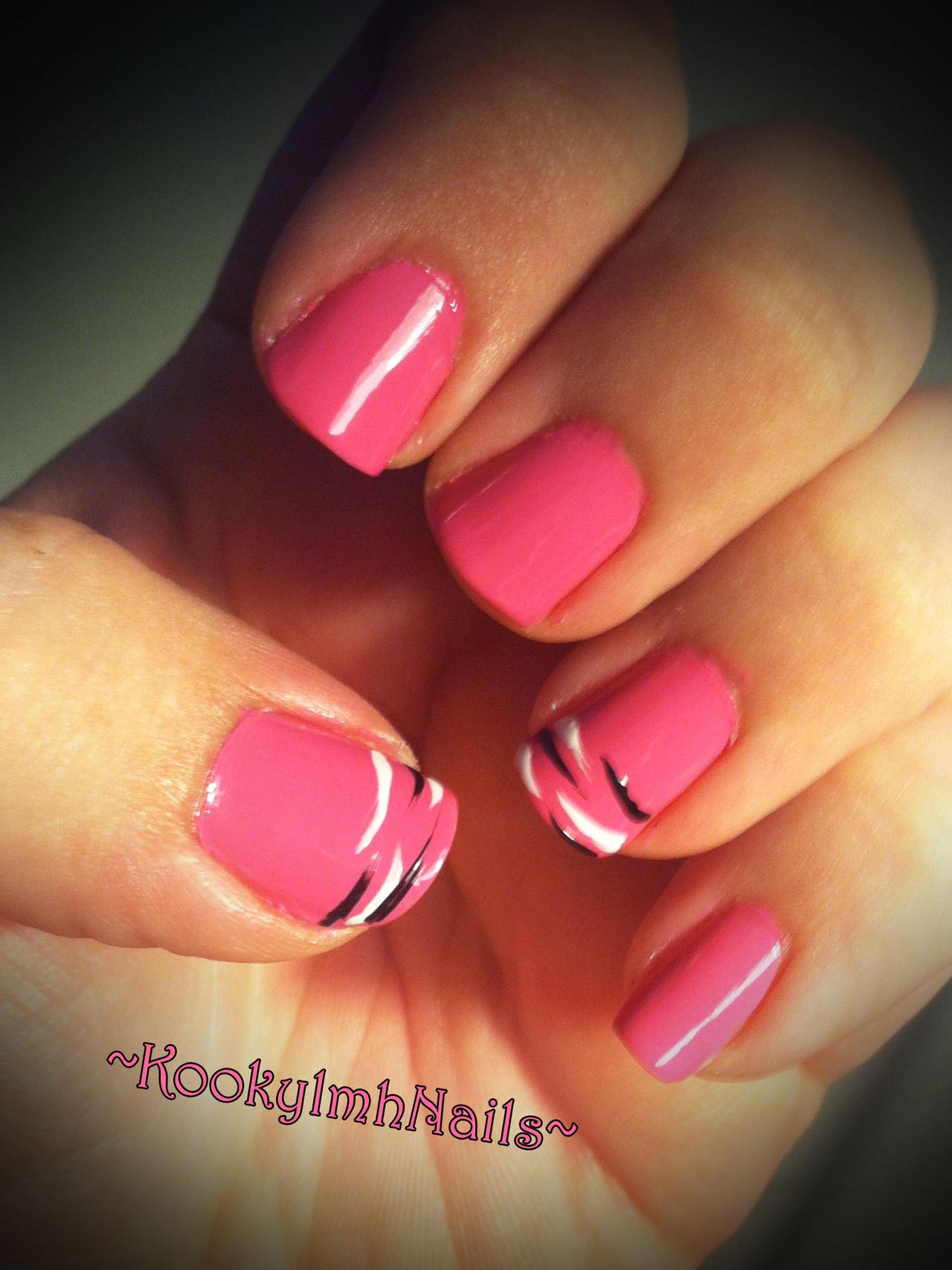 Pink Zebra French Tips by KookylmhNails on DeviantArt