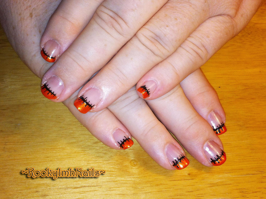 Halloween French Stitch Nails by KookylmhNails on DeviantArt