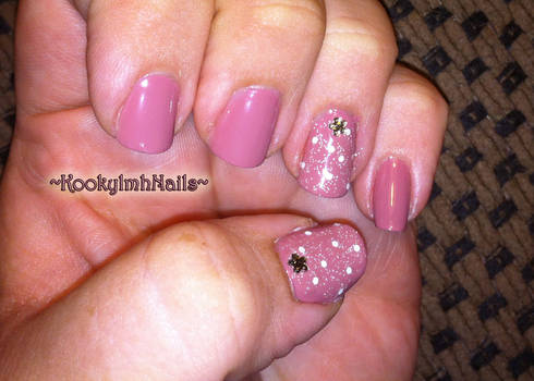 Glitter Flower Gem Nails