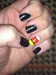 Candy Corn Nails - Halloween 2014 by KookylmhNails