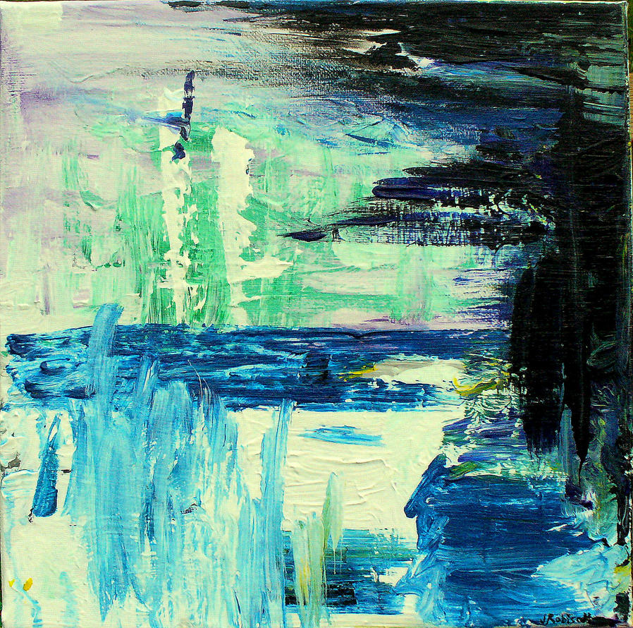 modern abstract blue green white black by jennirobison on DeviantArt for Abstract Paintings Black And White And Blue  565ane