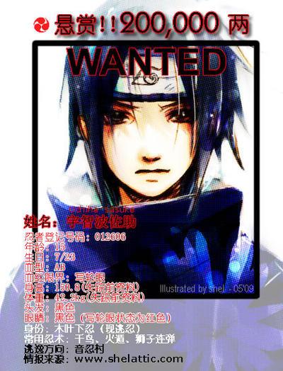Sasuke wanted by shel-yang