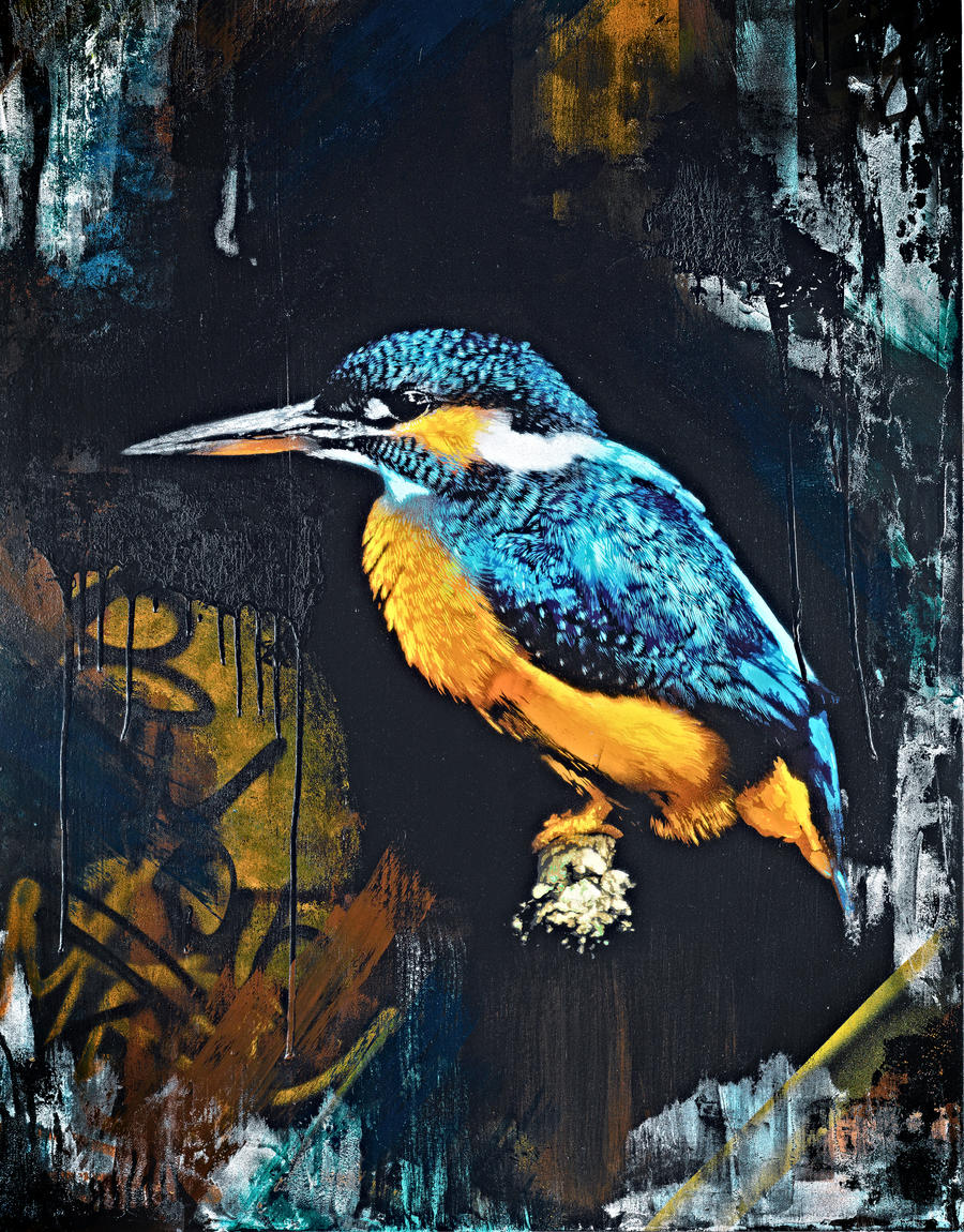 Twilight Kingfisher by snikstencilstuff