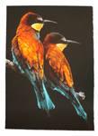 Bee-eaters by snikstencilstuff