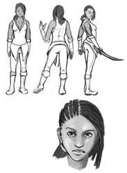 tense swordwoman design