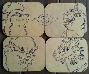 Wood-Burned Coaster Set by bluesonic1