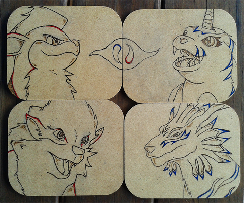 Wood-Burned Coaster Set