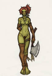 Baby Crow Orc Girl Coloured Sketch by OnHolyServiceBound