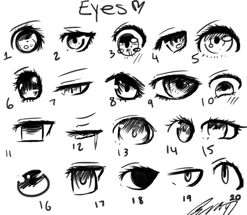 how to draw different types of anime eyes