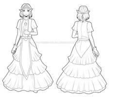 Young TP Zelda (Lineart) by Queen-Zelda