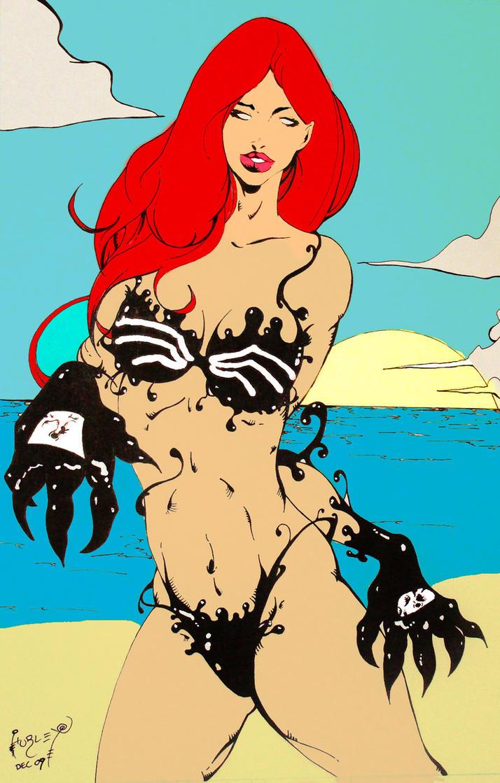 lady venom colored comision by demaniore