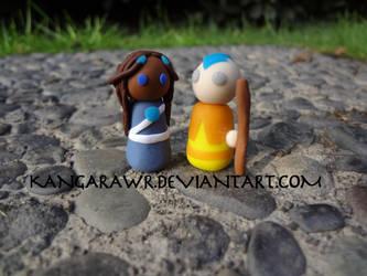 Katara and Aang by kangarawr
