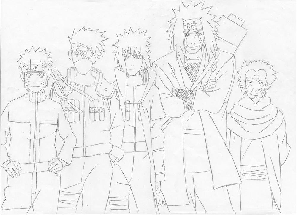 Naruto kakashi minato jiraiya sarutobi by reborn sama for Jiraiya coloring pages