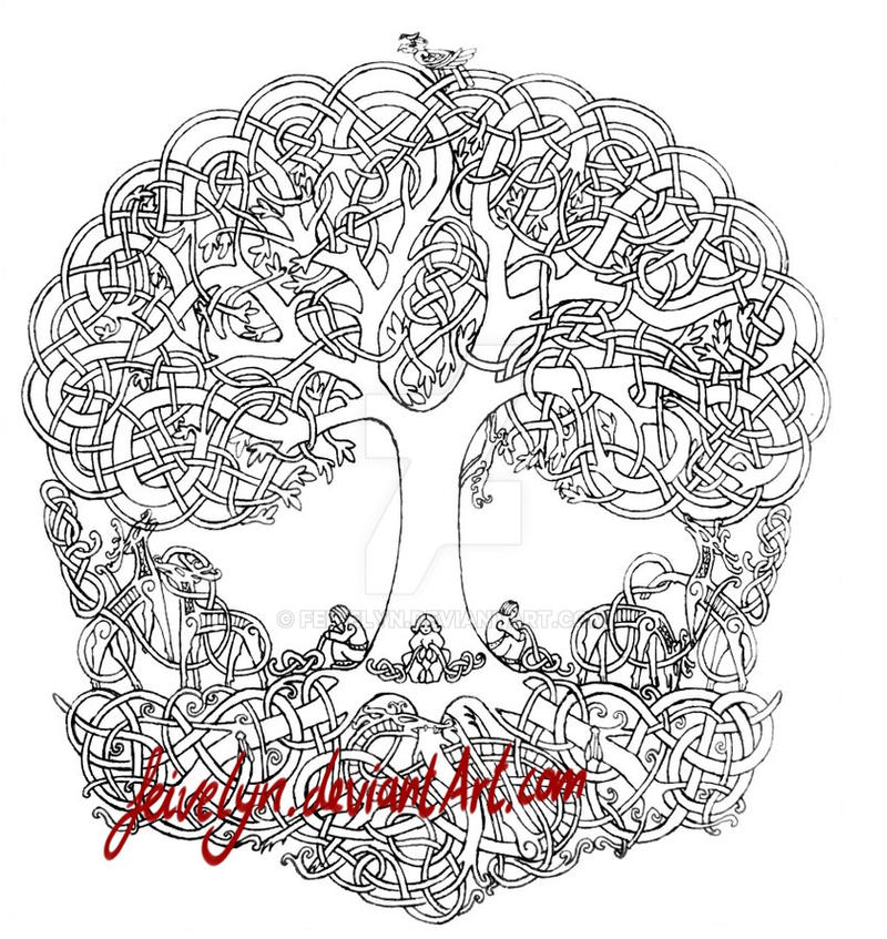 Yggdrasil outline drawing by Feivelyn