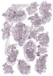 Zoomorphic knotwork doodle page