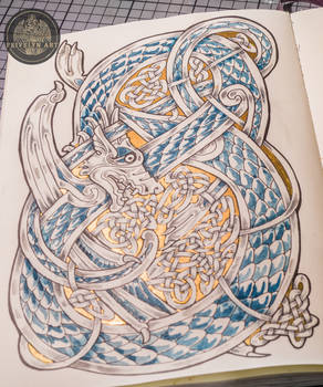 Gold and Blue - Celtic Dragon