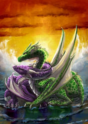 Dragons cuddling by the Sea