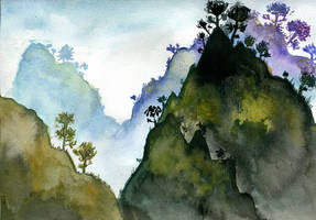 Misty mountains by Lusykia
