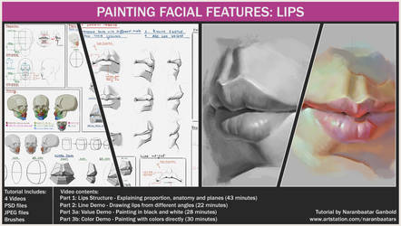 Painting facial features: Lips by Naranb
