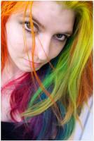 Bright Rainbow Hair by lizzys-photos