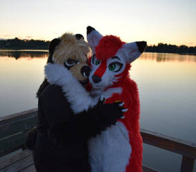 Finfur Animus 2017: Rimawolf and Syrha with sunset by cynderfan35