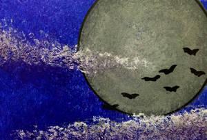 Bats and Moon Art Card