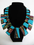 Blue Patchwork Ray Necklace