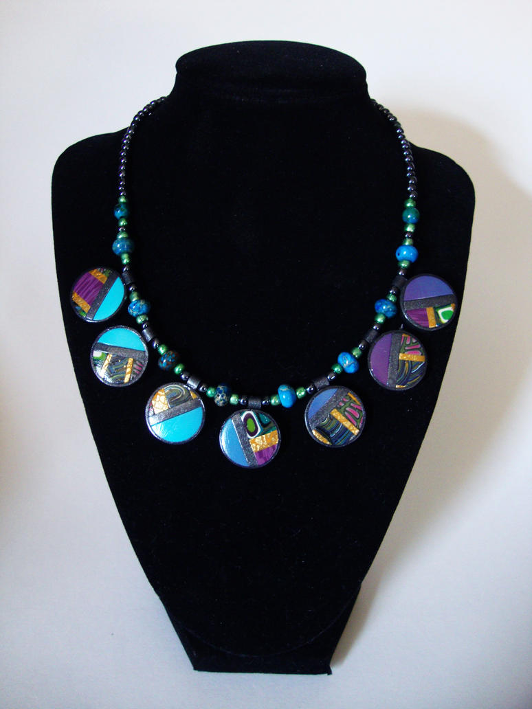 Small Blue Round Patchwork Necklace by Laurenry