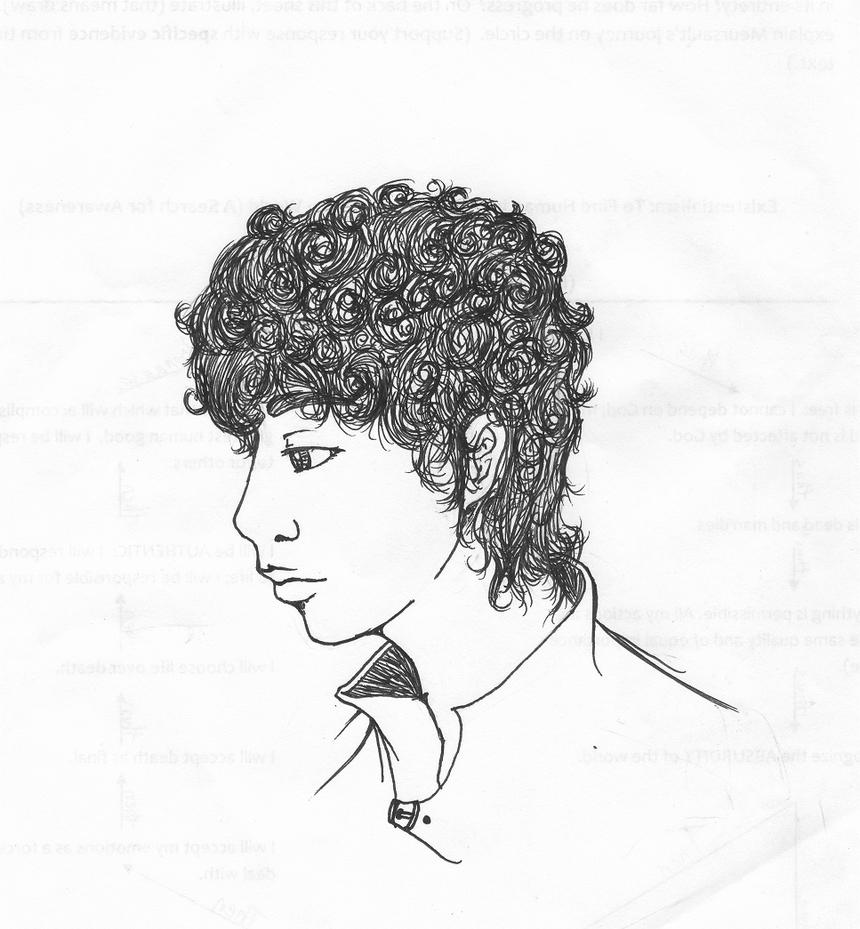 This is a graphic of Delicate Short Curly Hair Drawing