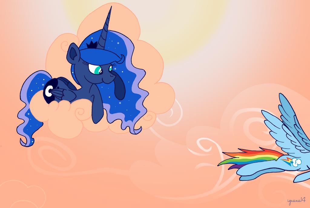 Luna meets her subjects - Rainbow Dash by iguana14