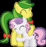 Sweetie hugging Apple Fritter