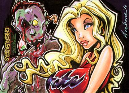 Zombies v Cheerleader comish by Axebone