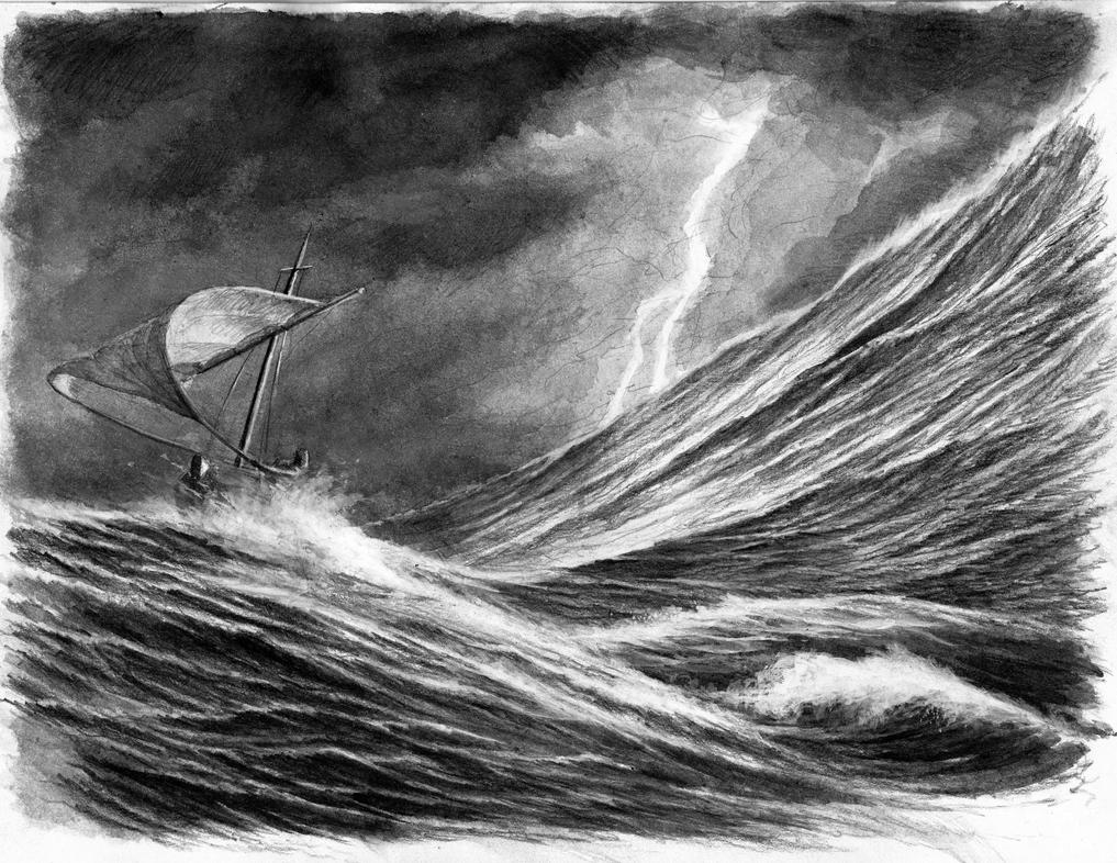 How to draw stormy sea