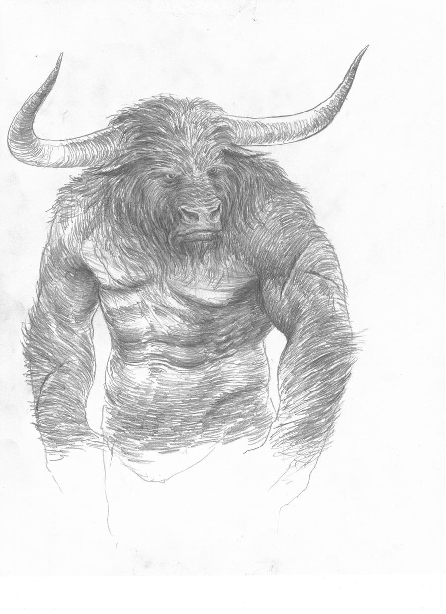 how to draw a realistic minotaur