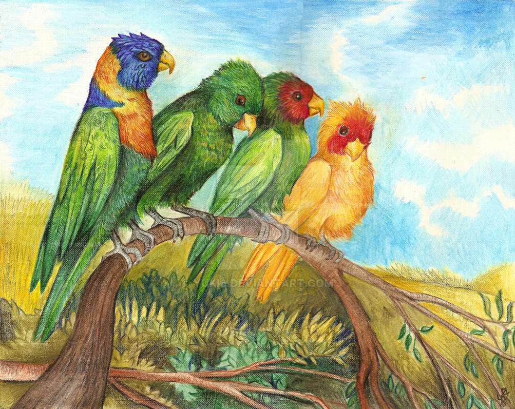 Parrots on a branch by Yuki6
