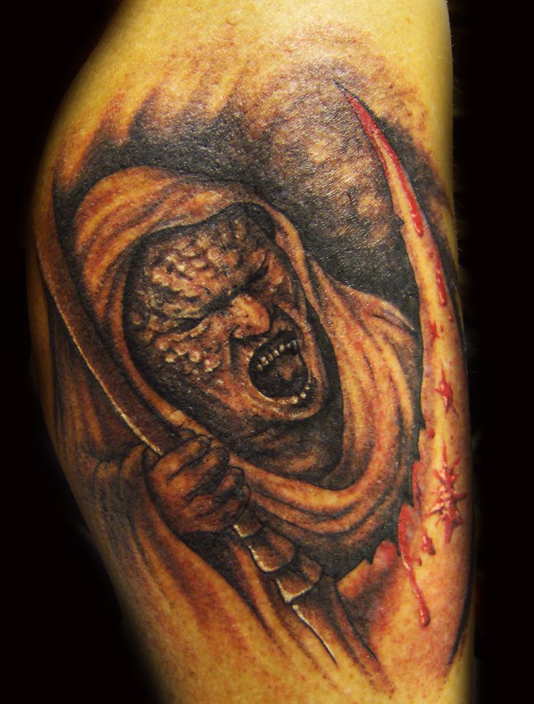 freehand reaper tattoo on leg by hatefulss on deviantart. Black Bedroom Furniture Sets. Home Design Ideas