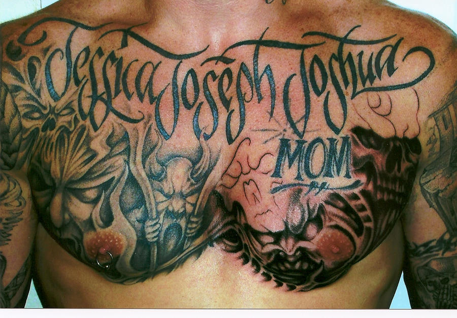 infinished chest plate - chest tattoo