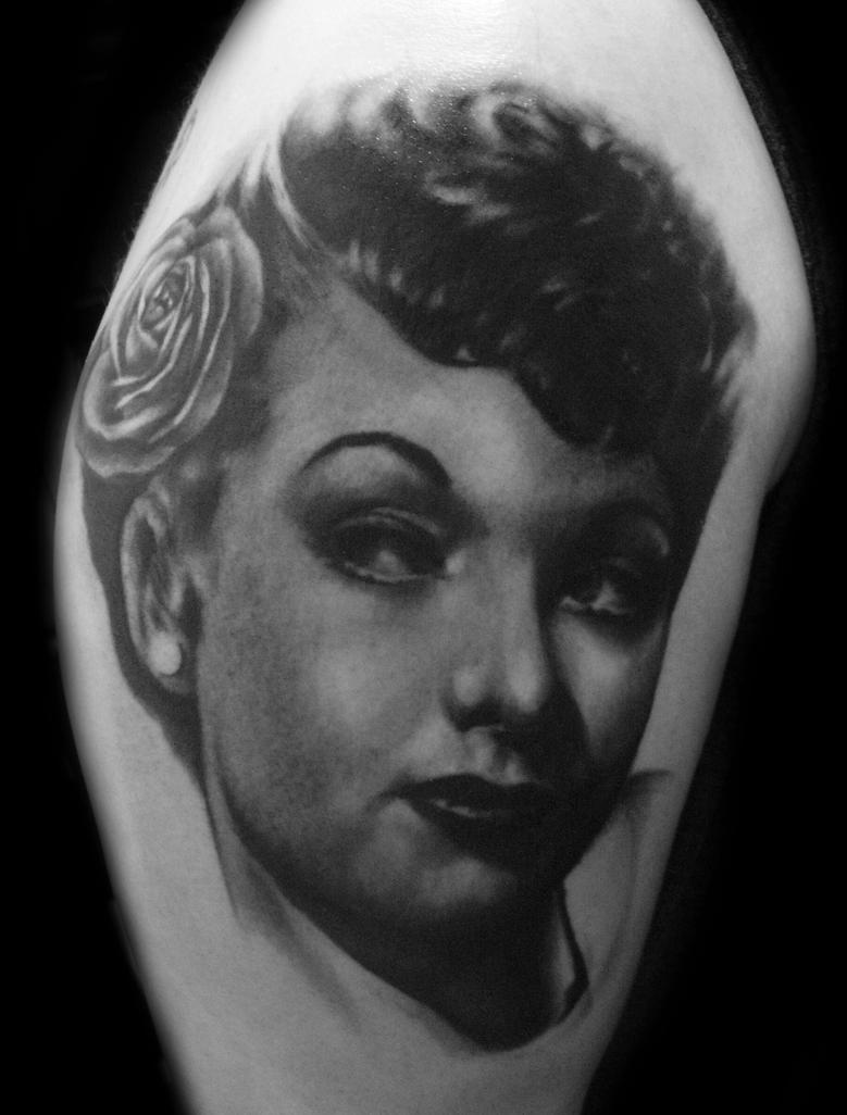 Lucille Ball tattoo grayscale by hatefulss