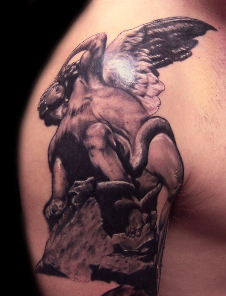 Lucifer Statue Tattoo by hatefulss