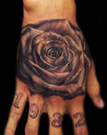 Black and Gray rose on hand