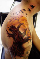 tree tattoo with birds by hatefulss