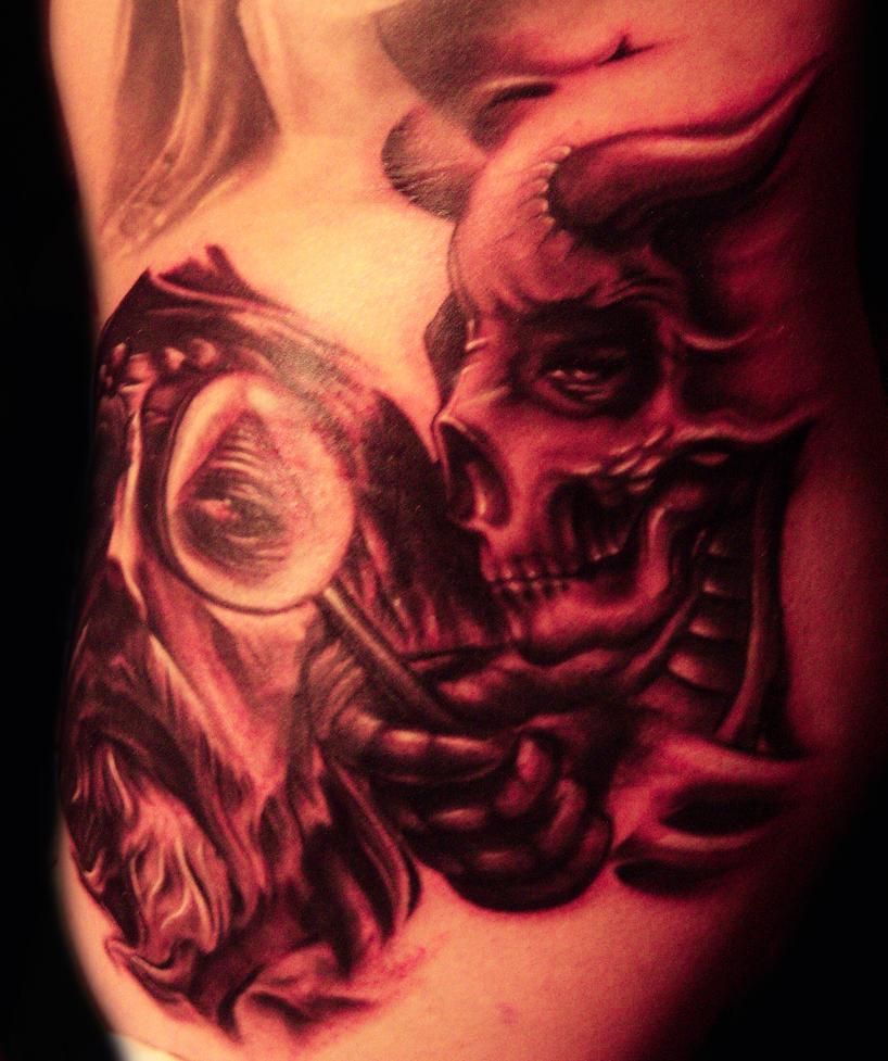 jesus skull vs devil skull tattoo images galleries with a bite. Black Bedroom Furniture Sets. Home Design Ideas